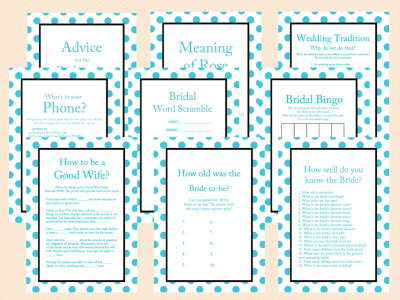 Turquoise Bridal Shower Games, Turquoise Themed Bridal Shower Games Activities, Instant Download, Printable Bridal Shower Games BS26
