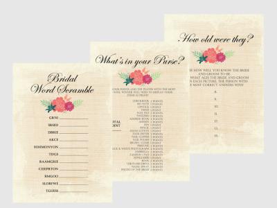 Rustic Bridal Shower Games Package Set, Light Burlap, Burlap, Floral Unique Bridal Shower Games