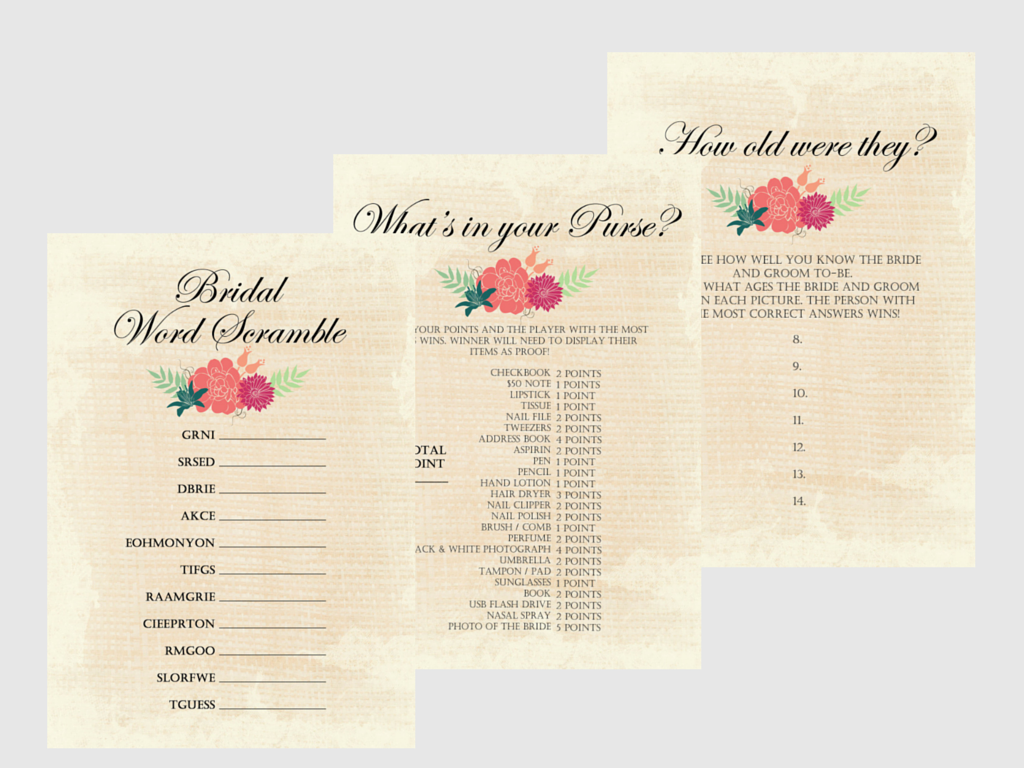 Rustic Bridal Shower Game Package