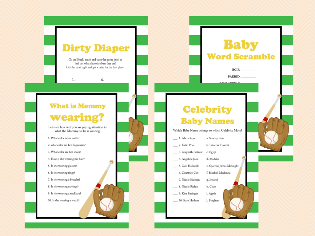 green baseball baby shower game package magical printable