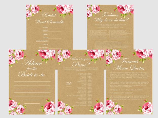 Floral Paper Bridal Shower Games Magical Printable