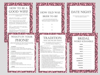 Pink Leopard Bridal Shower Games Package, Modern Bridal Games, Unique Bridal Shower Games, Bachelorette Games, Wedding Shower Games