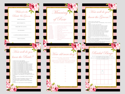 Pink Parisian Chic, Pink Black Stripe Chic Bridal Shower Games Package Set, Unique Games, Bachelorette Games, Wedding Shower Games BS12