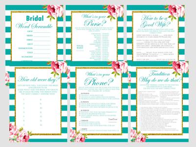 Floral Teal Bridal Shower Game Package, Teal Themed bridal shower, green, Unique Bridal Shower Games, Wedding Shower Games BS13