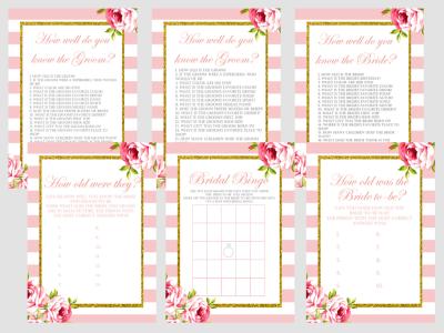 Paris, Pink Chic Floral, Parisian Theme Bridal Shower Games Package Set, Printable Unique Bridal Shower Games, Wedding Shower Games BS11