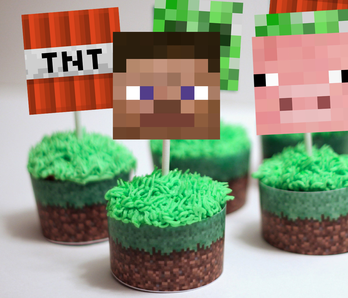 This is a picture of Printable Minecraft Cupcake Toppers throughout minecraft cut out figure