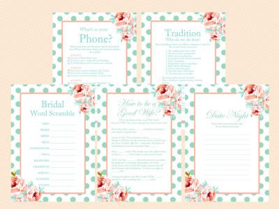 Mint and peach bridal shower game package magical printable for Non traditional bridal shower games