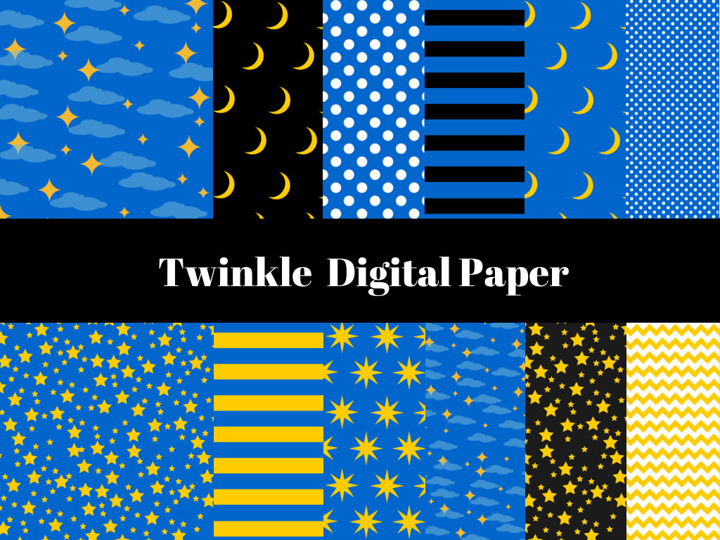 Twinkle Twinkle Stars Lullaby Digital Paper Magical