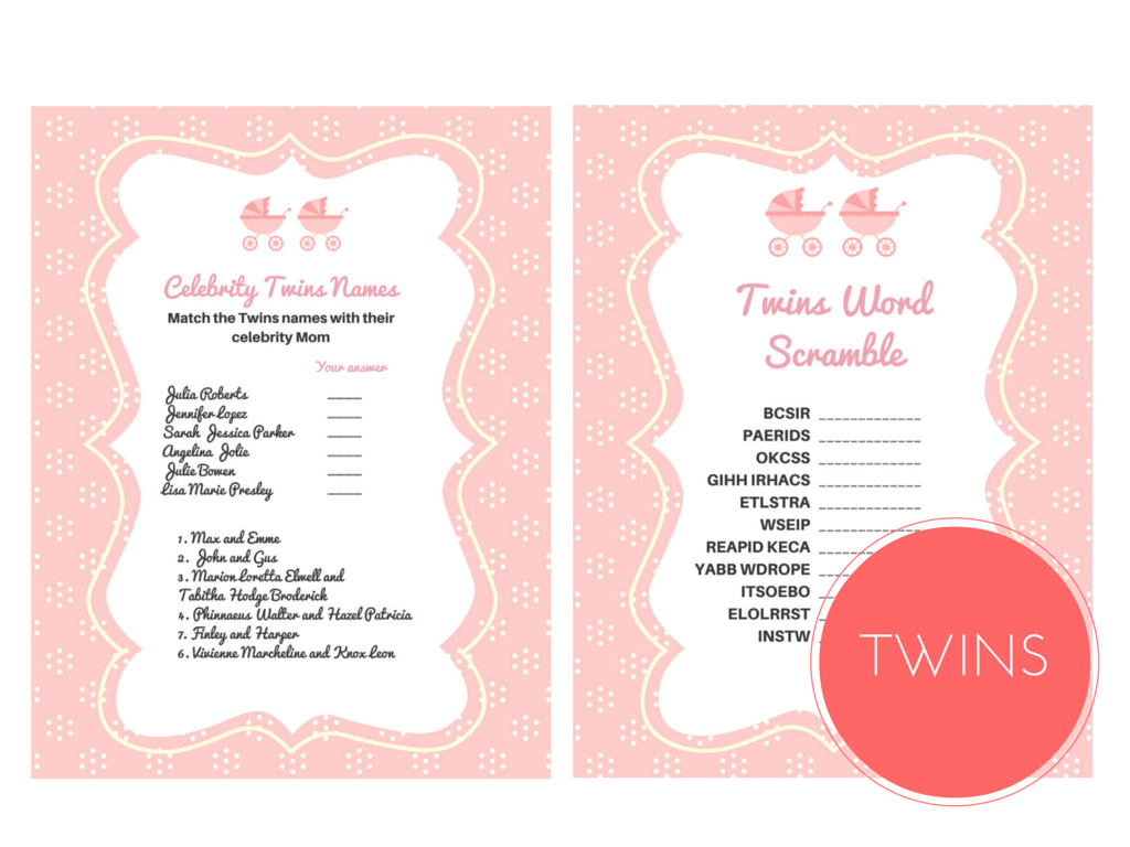photo regarding Celebrity Baby Name Game Printable referred to as Dual Gals Little one Shower Online games - Magical Printable