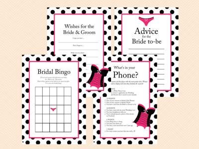 Girly Lingerie Bridal Shower Games, Underwear Bridal Shower Games, Bachelorette Games, Corset theme, Wedding Shower BS32