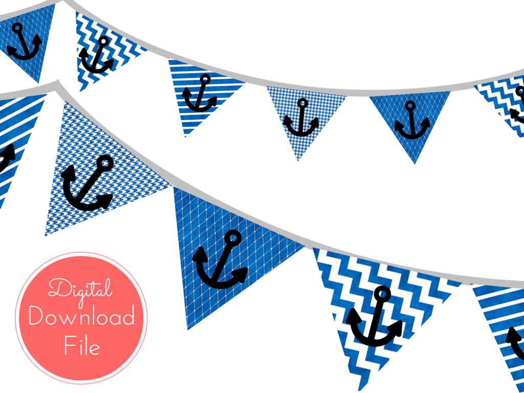Blue Watercolor Nautical Baby Shower Banner Magical Printable