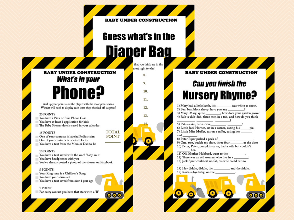 Construction Baby Shower Games Pack - Magical Printable