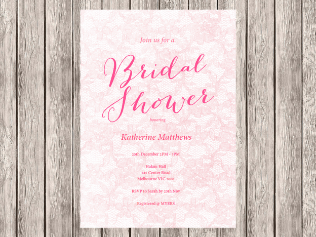 lace shabby editable bridal shower invitation magical printable