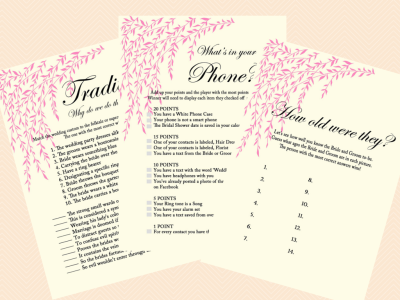 What's in your phone, cellphone game, phone Game, Bridal Shower game, pink willow tree Bridal Shower, Bachelorette, Wedding Shower BS35