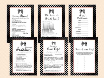 Black and White Ribbon Bridal Shower Games Printable Pack, Black & White Stripes Bridal Shower Games, bachelorette game, Wedding Shower BS38