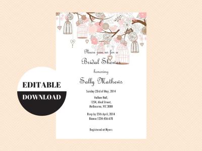Love Birds Birdcage Editable Invitation Magical Printable