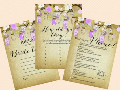 Editable Bridal Shower Invitations, Editable Baby Shower, Purple Mason Jars Editable Invitations, Rustic, Mason Jars, Chic BS49 (3)