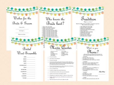 Emerald Bridal Shower Game Printables, Green, Yellow, Orange Colors, Wedding Strings, Bachelorette, Wedding Shower Games BS45