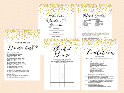 Gold Confetti Bridal Shower Game Set, Modern Bridal Shower Game Printable, Bachelorette Games, Wedding Shower Games, Metallic Gold Game BS46