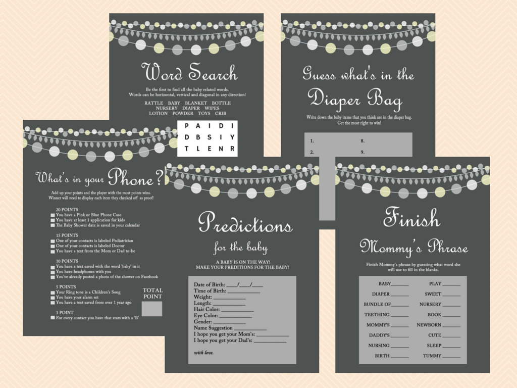 Gray Rustic Baby Shower Game Printables Magical Printable