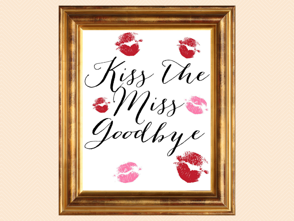 photo about Guess How Many Kisses for the Soon to Be Mrs Free Printable identified as Bridal Shower Signage Kiss the Skip Goodbye - Magical Printable