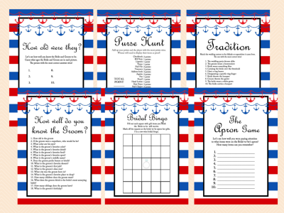 Nautical Bridal Shower Game Printable Packages, Nautical Bridal Shower Games, Beach, Red and Navy Modern Bridal Shower Games Printables, Bachelorette, Wedding Shower Games BS37