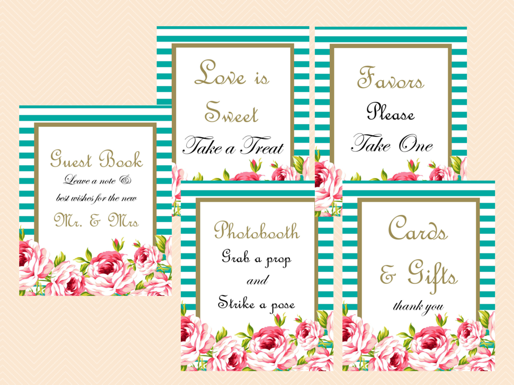 graphic regarding Printable Wedding Signage identify Teal and Black Marriage Signage - Magical Printable