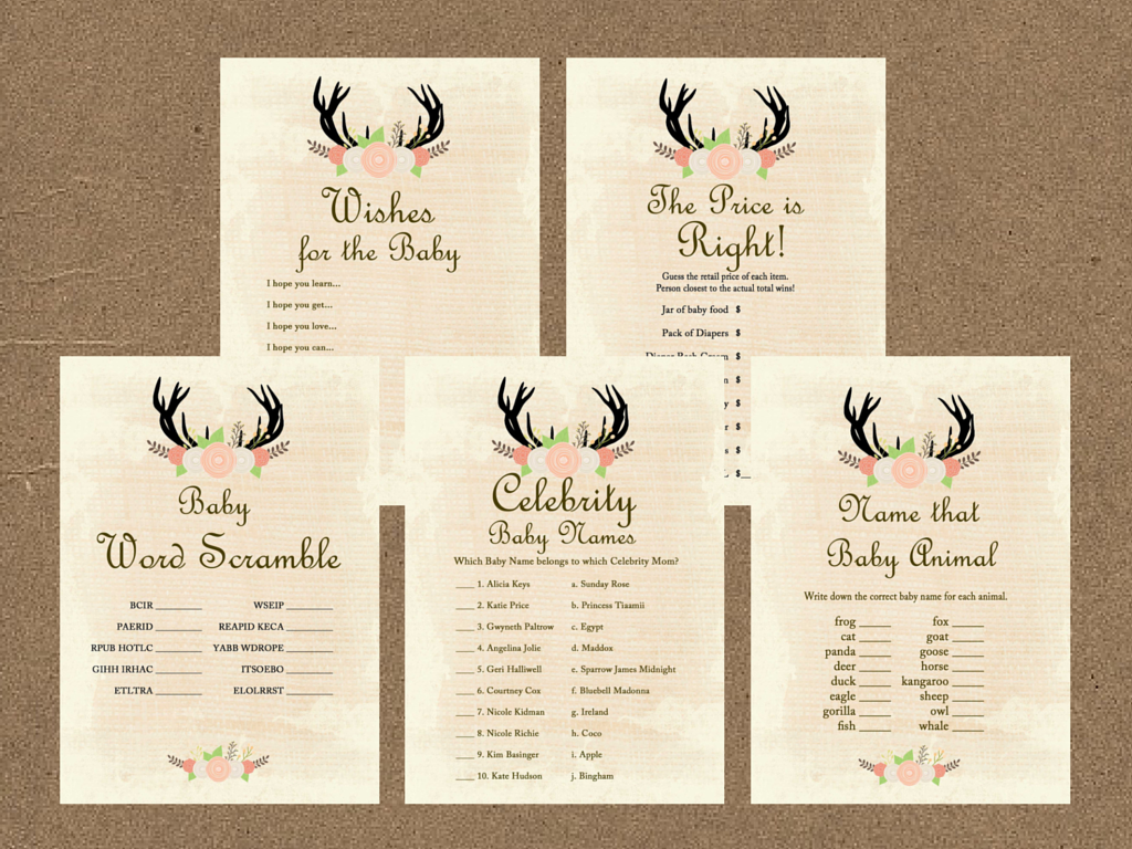 8cbbf69706f80 Oh Deer Antlers Baby Shower Game Pack - Magical Printable