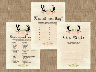 Rustic Country Bridal Shower Game Pack Magical Printable