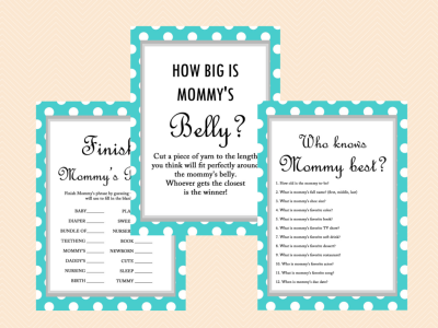 photo relating to How Big is Mommy's Belly Free Printable named Turquoise Kid shower Game titles - Magical Printable