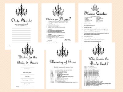 Bridal Shower Games Printable, Game Pack, Prize Games, Chandelier Bridal Shower Game Printables, Bachelorette, Wedding Shower Games BS43