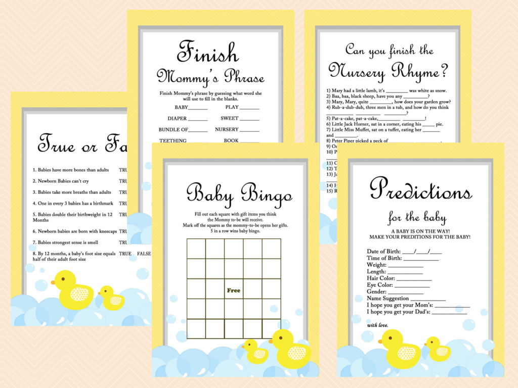 Yellow Rubber Duck Baby shower Games - Magical Printable
