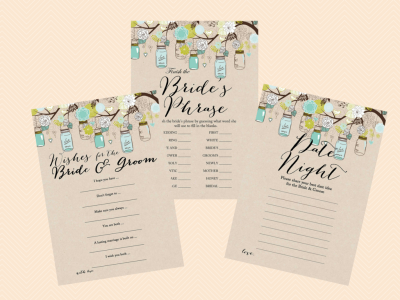 date night deas, finish the phrase, Wishes for the Bride & Groom card, wishes card, advice cards, Rustic, Mason Jars Bridal Shower Game, Bachelorette, Wedding Shower BS48