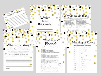 gold silver black confetti bridal shower game printable pack, modern bridal shower games
