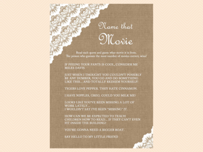 Burlap And Lace Bridal Shower Games Magical Printable