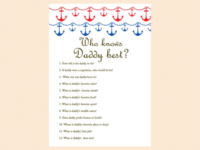 Red And Blue Nautical Baby Shower Games Magical Printable