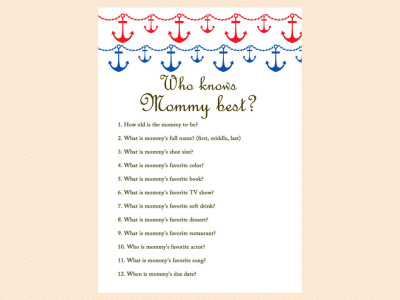 anchor sea theme blue red unique baby shower games tlc13