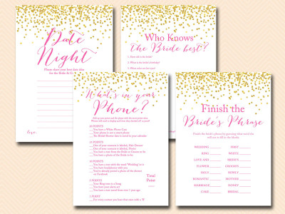 gold confetti, hot pink bridal shower game printables, instant download games, modern, chic bridal shower bs63