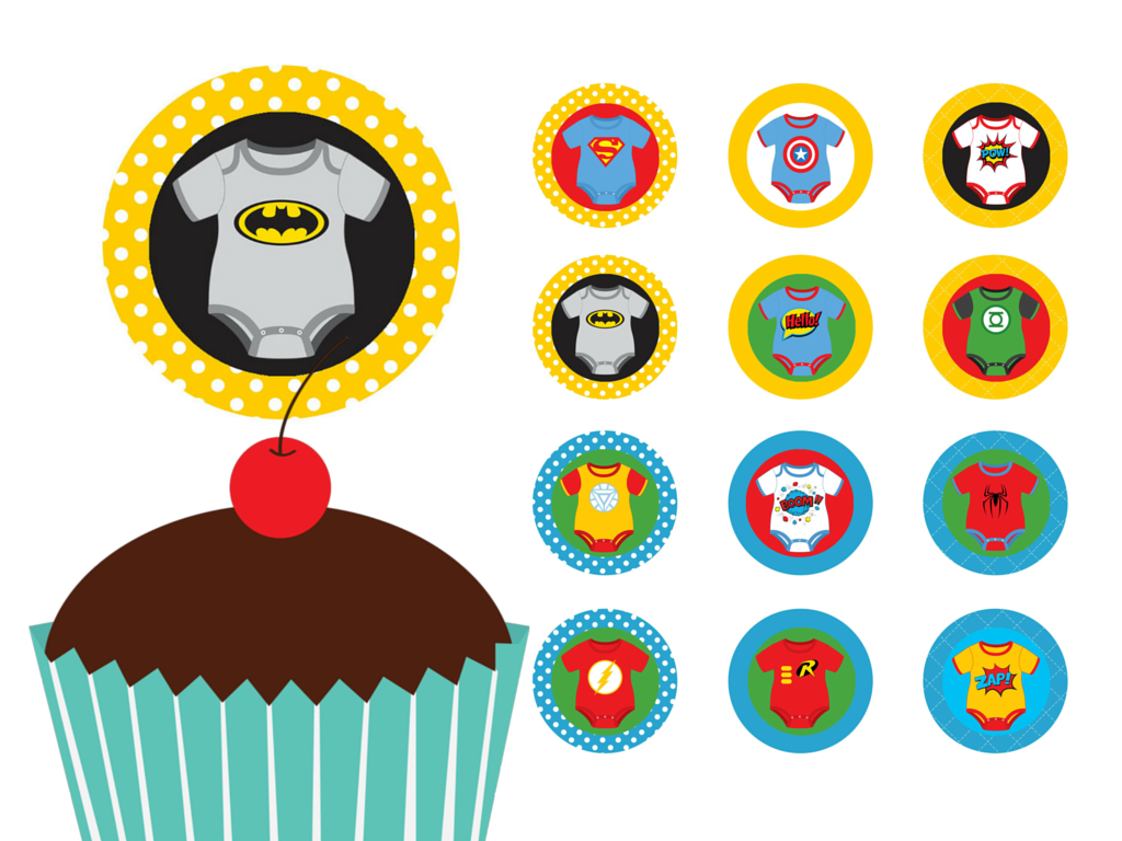 Superhero Baby Shower Toppers - Magical Printable
