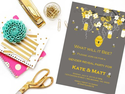 Invitation Editable What Will It Bee Baby Gender Reveal Party Instant Download