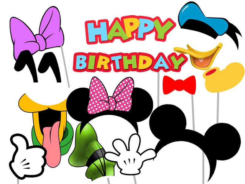 image relating to Printable Photo Booth Props Birthday named Mickey Mouse and Close friends Image Booth Props - Clubhouse