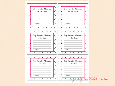 Kate Spade Inspired Hot Pink Dots Bridal Shower Games