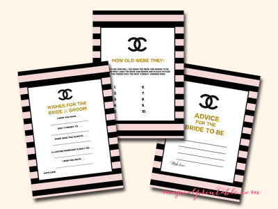 picture about Chanel Printable titled Gold Chanel Bridal Shower Activity Pack - Magical Printable