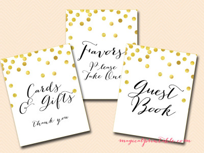 photograph about Printable Wedding Signs referred to as Pritnable Gold Confetti Marriage ceremony Signs and symptoms, Bridal Shower, Little one