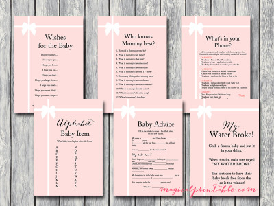 tiffany pink baby shower game pack, instant download, tiffany baby shower games, printable games