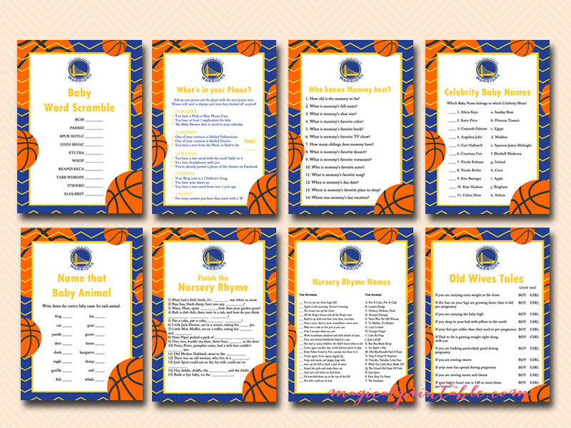 Free Basketball Golden State Warriors Baby Shower Games