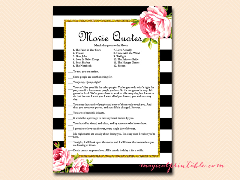 Printable Wedding Shower Game - Movie Love Quotes Game
