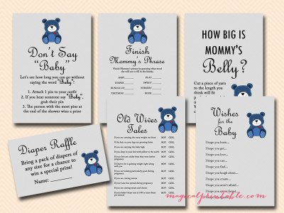Teddy Bear Baby Shower Game Pack - Magical Printable