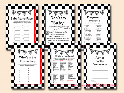 racing baby shower games, printable racing car baby shower game pack, tlc113