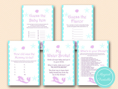 mermaid baby shower game pack, beach baby shower, nautical games
